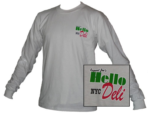White Hello-Deli Long Sleeve Shirt